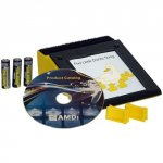A yellow rectangular device with a screen framed in black; a product catalog CD and batteries are also featured.