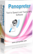 Panopreter in packaging with a speaker above a paper and pen on the front of the box. Under the name, Text to Speech and Text to MP3 Software is also written.