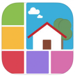 Logo in the form of a rounded square with a drawing of a colorful house in the upper right corner and different colored blocks around it.