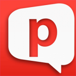 Square red image with a white conversation bubble in the middle with a lowercase letter p, colored in red, inside.