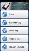 Menu options include scan, scan history, voice tag, product info, and beacon search.