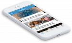 Newsela science article menu on a mobile phone.
