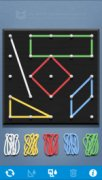 An app screen with an arial view of a pegboard and rubber bands stretched around pegs to create shapes.