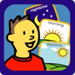 Choice Works app logo featuring three colorful boards overlaid by the one below it and labeled: Nighttime, morning and daytime. There is also a drawn of a young boy with a bright red shirt and brown hair.