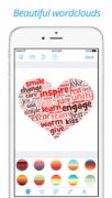 shape Go mobile interface with a heart shape on the screen filled with words that are mostly of a reddish hue; color options are shown on the bottom of the screen.