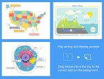 Four Sample sticker puzzles: a USA map for labeling states, a cell diagram for labeling, a numbered eco water cycle, and sorting and labeling puzzles.