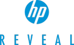 """HP Reveal logo showing the lower case """"hp"""" as white letters in a blue circle with the word reveal written in caps under it."""