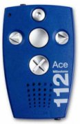 """Blue transmitter device with left and right arrows controls, center button, and """"X"""" button."""