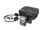 A receiver, transmitter, headphone, microphone and carry case.