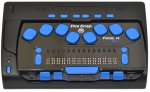 A black, rectangular handheld device with 14 braille cells and an 8-dot keyboard.