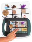 Handheld, tablet device with handle features a 3x3 grid with images.