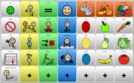 Screenshot of the Mind Express 4 pictographic, grid menu.