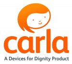 """An icon of a person with orange hair, with """"carla"""" underneath and the caption """"A Device for Dignity Product."""""""