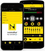 notetalker homepage on smartphone and recording screen on smartphone