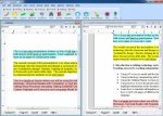 Screenshot of a word processing program with selections of text highlighted in different colors.