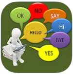 3D white figure holding iPad with short words, including Hi, Bye OK, Yes, No, Say, and Hello in speech bubbles.