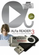 "ALFa READER 3's logo with flash drive as a large play arrow in the center of a lower case letter ""d"" superimposed on a cursive letter A. There is also an image of a teenage boy with headphones on."