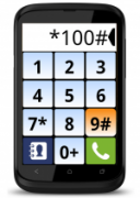 A dial screen on a smart phone with large numbers.