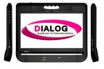 Tablet with dialog logo on screen and side view of input jacks.