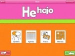 He hajo app menu featuring four rectangular buttons with the options speak, memory, photos, and agenda.