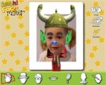 Screenshot of computer photo of a child with funny hat, ears, nose, and eyebrow stickers.