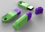 Three green USB sticks with purple tops.