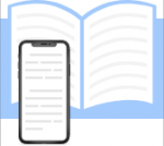 An icon of a mobile phone placed over a book to demonstrate text shown on the phone.