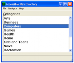 Accessible Web Directory categories screen