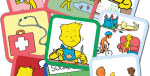 Various multi-colored rectangular cards with cartoon drawings.