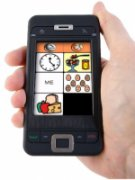 An aac board on a smartphone consisting of a drawn clock, food on a spoon, the word ME, a group of drawn heads with faces, and a drawn bread/fruit/cheese picture.