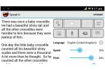 Speak it tablet menu with play and options buttons: sliders for Speed and Pitch, UK English on button, and menu, save, speak and backspace buttons. There is text on the left side of the menu.
