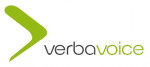 Verba Voice logo featuring a green arrow and text in black and green with the company's brand name.