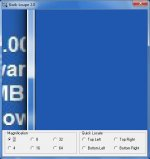 A blue software interface that is currently magnified, with an options menu at the bottom.