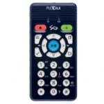 PLEXTALK Pocket in navy with speaker, sound control buttons and 10 key.