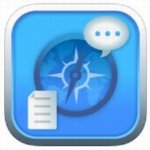 TalkingWeb app icon, featuring a blue background with compass, speech bubble, and document pages.