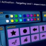 "Menu titled ""Activation: Targeting Level 1: Shapes & Objects"" and features choices for colors and various activities represented by thumbnails of shapes."