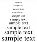 """A screenshot of """"sample text"""" in different font sizes, going from small to progressively larger."""