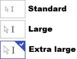 Insert cursors and pointers in three different sizes.