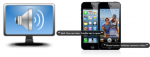 """Two images side-by-side: the first is of a computer screen with a large sound icon; the second image is of two iPhones, with speech bubbles indicating that VoiceOver is being used. The first iPhone's speech bubble reads, """"Mail. One new item. Double tap to open."""" The second phone is running the camera app, and the speech bubble says, """"Photo button. Switches camera to video."""""""