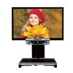 Monitor showing a girl with a red cap with a video magnifier below is mounted on a black clamp.
