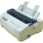 """White printer-like device with tray along back and menu buttons along front. Menu features 4 small buttons, labelled """"turn off;"""" """"play/pause;"""" """"load/eject;"""" and """"Online/Cancel."""" The labels are not in braille. The device has a plastic grey cover where paper feeds through at the top. There are two large round knobs, one on either side of the device for sliding the paper down into the loading slot."""