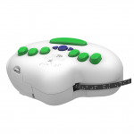 White, rounded device with green and blue menu keys and a black power cord connected.