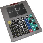 Large, thin calculator with large, color-coded buttons.