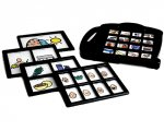 Black device with interchangeable templates containing photos in each window.