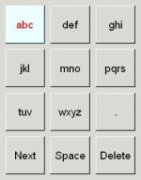 A 4 by 3 array of keys containing the English alphabets and other keys indicating full stop, next, spacebar and delete.