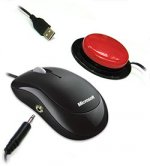 Standard black computer mouse with cable connection to red, circular switch button.