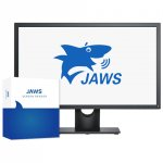 Computer monitor on a stand with display showing the JAWS logo against a white background with the software box standing next to it.