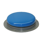 Flat, gray base with blue button.