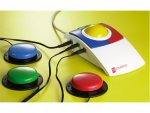 Large white mouse with blue and red click buttons and yellow scroll wheel. Three switch inputs plugged into left side of mouse attached to red, green, and blue switch buttons.