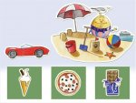 Green icons of ice cream, pizza, and chocolate across bottom of screen. Red car and Humpty Dumpty playing in sand with beach ball, sandcastle, umbrella, and boat on beach.
